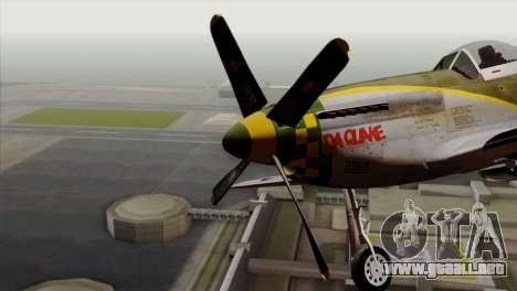 P-51D Mustang Da Quake para GTA San Andreas vista hacia atrás