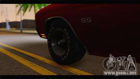 Chevrolet Chevelle 1970 Flat Shadow para GTA San Andreas vista posterior izquierda