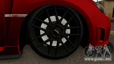 Subaru Impreza WRX STI Stanced para GTA San Andreas vista posterior izquierda