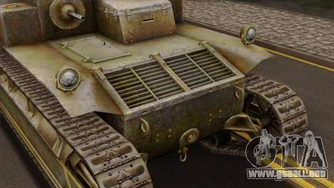 T2 Medium Tank para GTA San Andreas vista hacia atrás