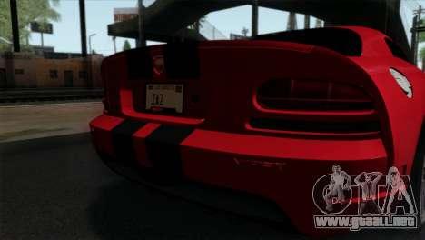 Dodge Viper SRT10 v1 para GTA San Andreas vista hacia atrás