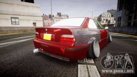 BMW M3 E36 Stance para GTA 4 Vista posterior izquierda