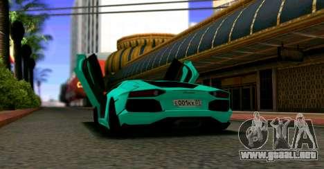 Lamborghini Aventador LP700-4 2012 para GTA San Andreas vista posterior izquierda