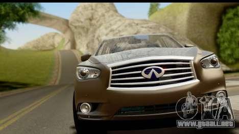 Infiniti JX 35 2013 para GTA San Andreas vista posterior izquierda
