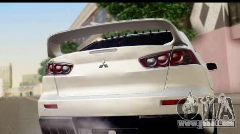 Mitsubishi Lancer Evo X para la visión correcta GTA San Andreas