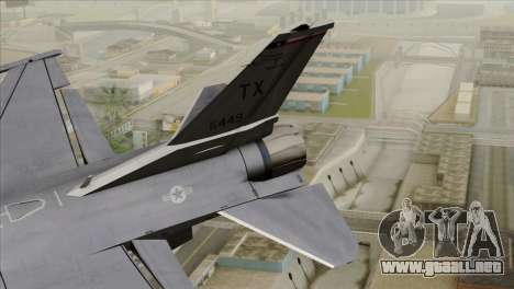 F-16D Fighting Falcon para GTA San Andreas vista posterior izquierda