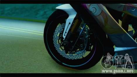 Kawasaki Ninja ZX-10R Super Sonico Itansha para GTA San Andreas vista posterior izquierda