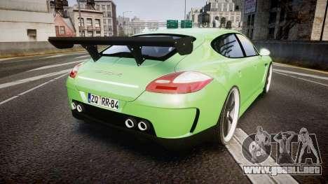 Porsche Panamera Turbo 2010 para GTA 4 Vista posterior izquierda