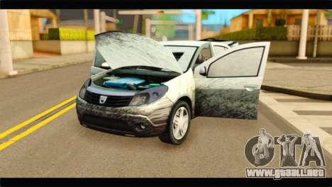 Dacia Sandero Dirty Version para GTA San Andreas vista hacia atrás