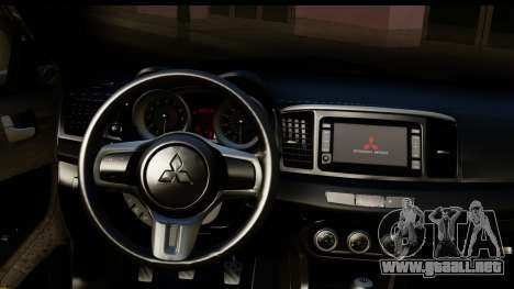 Mitsubishi Lancer Evo X para visión interna GTA San Andreas