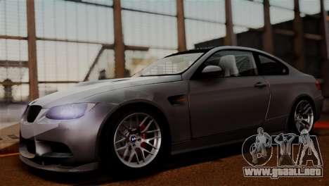 BMW M3 E92 GTS 2012 v2.0 Final para GTA San Andreas vista hacia atrás