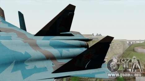 SU-47 Berkut Winter Camo para GTA San Andreas vista posterior izquierda
