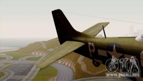 P-51D Mustang Da Quake para GTA San Andreas vista posterior izquierda