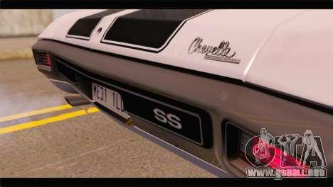 Chevrolet Chevelle 1970 3D Shadow para GTA San Andreas vista hacia atrás