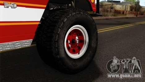 Hummer H1 Fire para GTA San Andreas vista posterior izquierda