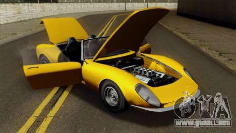 GTA 5 Grotti Stinger v2 para GTA San Andreas vista hacia atrás