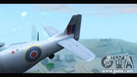 P-51 Mustang Mk4 para GTA San Andreas vista posterior izquierda