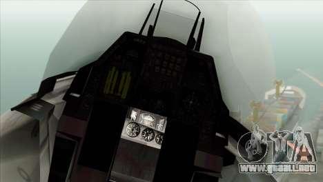F-16C Fighting Falcon Wind Sword Squadron para GTA San Andreas vista hacia atrás