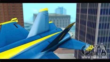 McDonnell Douglas FA-18 Blue Angel para GTA San Andreas vista posterior izquierda