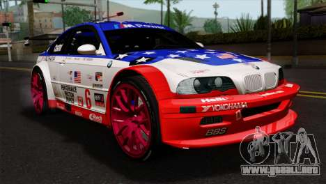 BMW M3 GTR 2001 Prototype Technology Group para GTA San Andreas