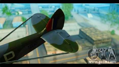 Supermarine Spitfire F MK XVI 318 SQ para GTA San Andreas vista posterior izquierda