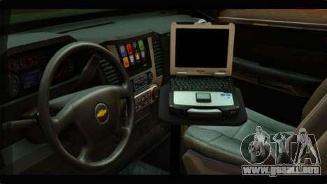 Chevrolet Suburban 2015 SANG para la visión correcta GTA San Andreas