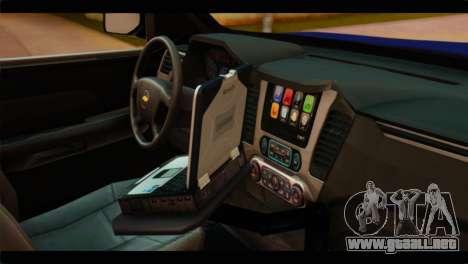 Chevrolet Suburban 2015 BCSD Sheriff para la visión correcta GTA San Andreas