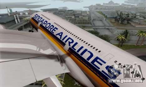 Airbus A380-800 Singapore Airline para GTA San Andreas vista hacia atrás