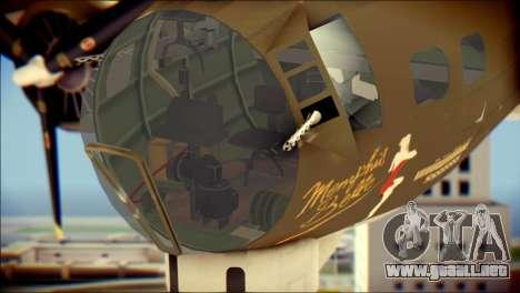 B-17G Flying Fortress para GTA San Andreas vista hacia atrás