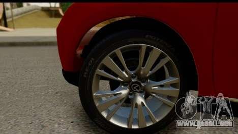 Lexus RX450h para GTA San Andreas vista hacia atrás