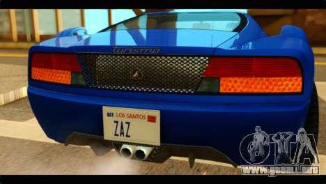 GTA 5 Grotti Turismo para GTA San Andreas vista hacia atrás
