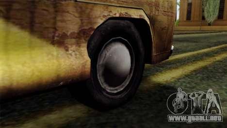 Volkswagen T2 Bob Marley para GTA San Andreas vista posterior izquierda