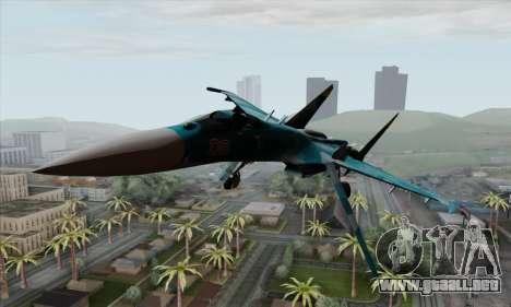 SU-27 Flanker A Warwolf Squadron para GTA San Andreas vista hacia atrás