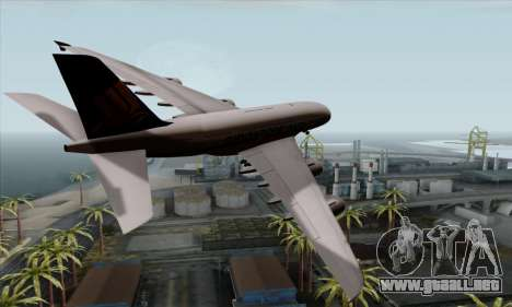 Airbus A380-800 Singapore Airline para GTA San Andreas left