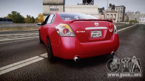 Nissan Altima 3.5 SE para GTA 4 Vista posterior izquierda