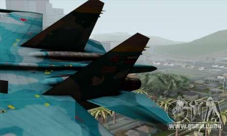 SU-27 Flanker A Warwolf Squadron para GTA San Andreas vista posterior izquierda