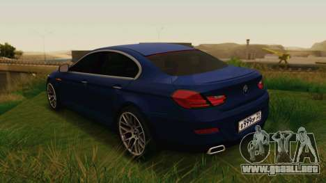 BMW 6 Series Gran Coupe 2014 para GTA San Andreas left