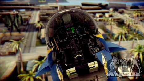 FA-18D Hornet NASA para GTA San Andreas vista hacia atrás