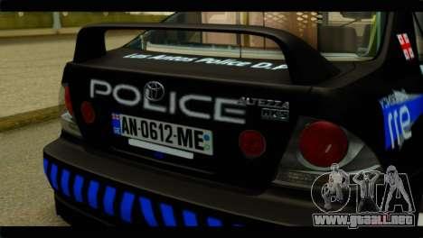 Toyota Altezza Police para GTA San Andreas vista hacia atrás