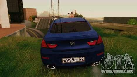 BMW 6 Series Gran Coupe 2014 para GTA San Andreas vista posterior izquierda
