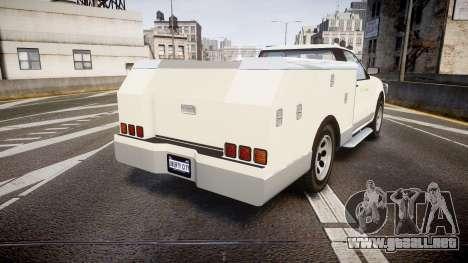 GTA V Vapid Utility Truck para GTA 4 Vista posterior izquierda