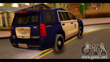 Chevrolet Suburban 2015 BCSD Sheriff para GTA San Andreas left
