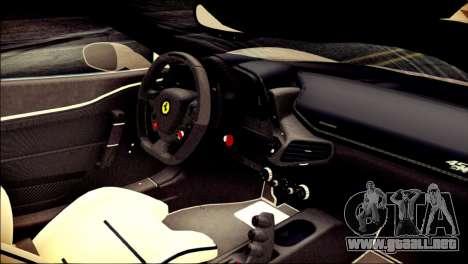 Ferrari 458 Speciale 2015 Stripe para la visión correcta GTA San Andreas