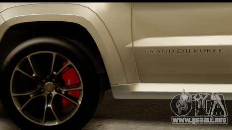 Jeep Grand Cherokee SRT8 2014 para GTA San Andreas vista hacia atrás