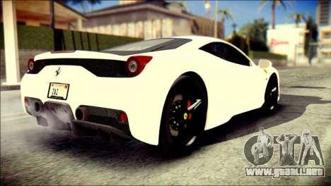 Ferrari 458 Speciale 2015 Stripe para GTA San Andreas left