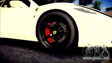 Ferrari 458 Speciale 2015 para GTA San Andreas vista posterior izquierda