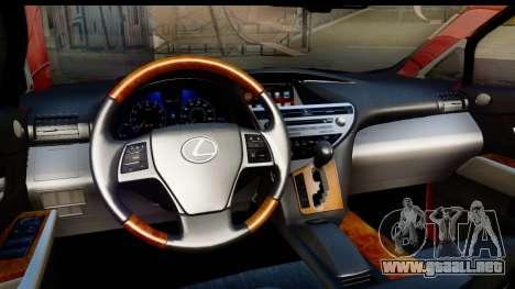 Lexus RX450h para visión interna GTA San Andreas