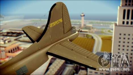 B-17G Flying Fortress para GTA San Andreas vista posterior izquierda