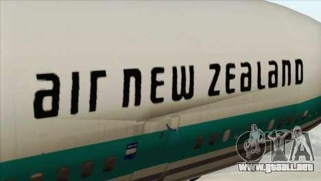 DC-10-30 Air New Zealand para GTA San Andreas vista hacia atrás