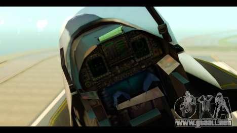McDonnell Douglas FA-18 HARV v2 para GTA San Andreas vista hacia atrás